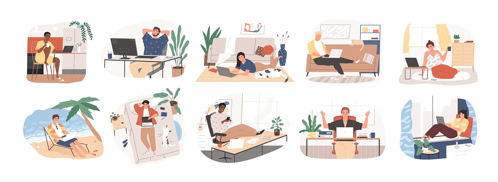 Cartoon illustrations of people working in different settings and environments