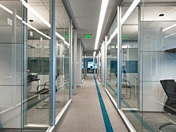 Office hallway lined with offices made from modular casework walls and doors