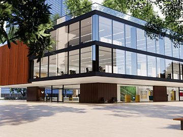 Rendering of an office building that focuses on integrated work and health and wellness